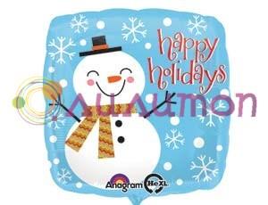 Фольгированный шар 'Счастливый снеговик' 40 см