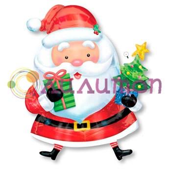 """Фольгированный шар """"Санта с елкой"""" - фото 6582"""