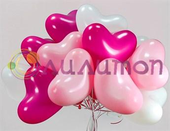 Облако из воздушных шаров разноцветных сердец - фото 7833