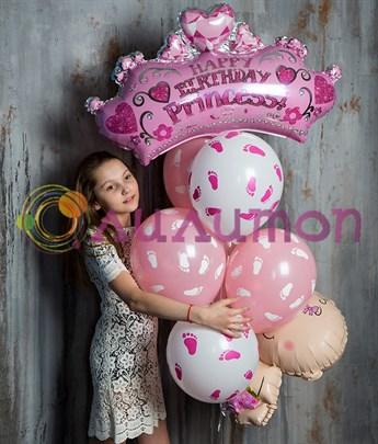 """Букет из воздушных шаров """"С днем рождения, принцесса"""" - фото 8022"""