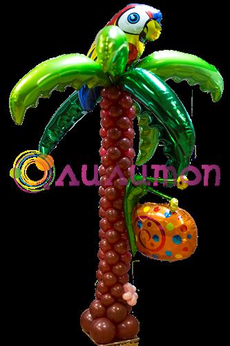 Пальма с попугаем и улиткой