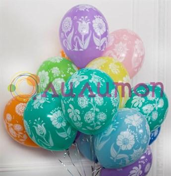 Облако из воздушных шаров 'Поющие цветы'