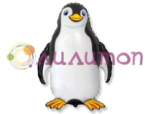 Фольгированный шар 'Счастливый пингвин' черный
