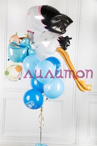 """Букет из воздушных шаров """"Для новорожденного мальчика"""" - фото 8390"""