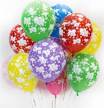 Облако из воздушных шаров с цветами - фото 8507
