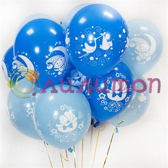 Облако из воздушных шаров для новорождённого - фото 8509