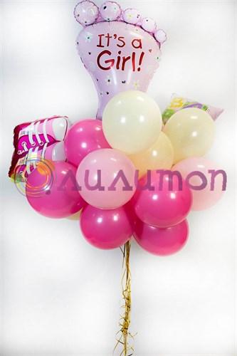 Букет из воздушных шаров 'Ура, у нас девочка'