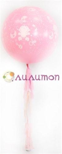 Большой шар для новорожденной девочки с кистями тассел 80 см