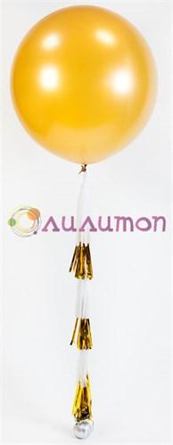 Большой шар золотой метталик с кистями тассел 80 см - фото 8526