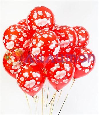 Облако из красных воздушных шаров с сердечками - фото 8529