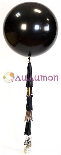 Большой шар 80 см черный с кистями тассел