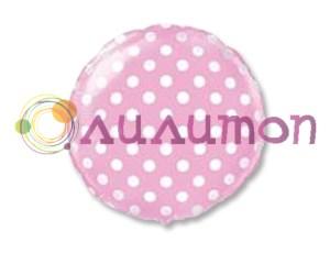 Фольгированный шар 18' Горошек на розовом