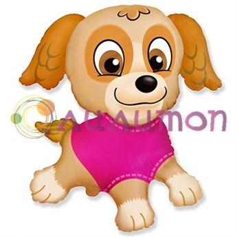 Фольгированный шар фигура Щенок в розовом Скай
