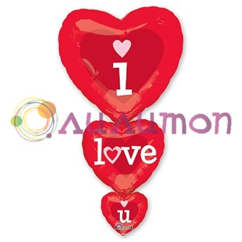 Фольгированный шар фигура ILY Сердца - фото 8655