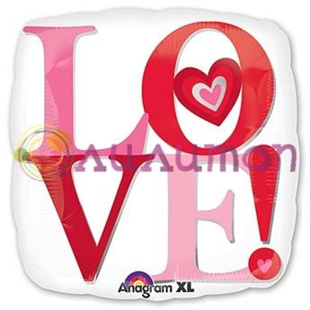 Фольгированный шар 'Love' - Белый квадрат