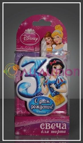 "Свеча-цифра для торта 3 Disney ""Принцесса Белоснежка"" - фото 9046"