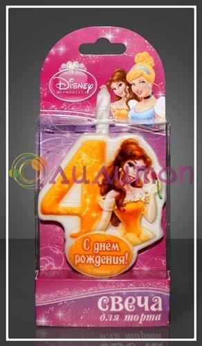 """Свеча-цифра для торта 4 Disney """"Принцесса Белль"""" - фото 9048"""