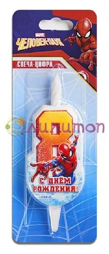 Cвеча тортовая 8 'Человек-паук'