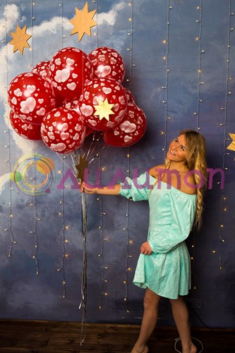 Воздушные шары под потолок 'С сердечками'