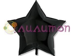 Фольгированная звезда Пастель Black  91см  - фото 9594