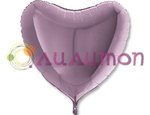 Фольгированная сердце Металлик Lilac 91 см