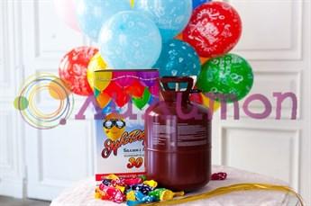 Маленький баллончик  с гелием на 30 шариков + 30 шариков