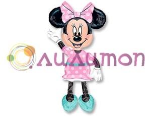 Ходячий шар Минни платье розовое в горошек