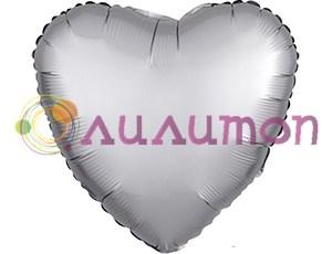 Фольгированное сердце 'мистик' платина 45см