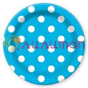 Тарелки бумажные ламинированные Горошек