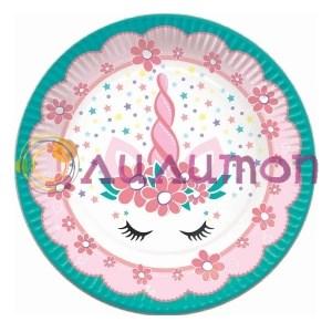 Тарелки бумажные Единорог Pink&Tiffany 6шт - фото 9820