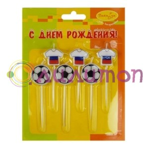 Свечи Футбол Россия 2,5см 6шт (3+3)