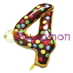 """Фольгированный шар """"Цифра 4"""" Пончик - фото 9890"""