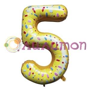 """Фольгированный шар """"Цифра 5"""" Пончик - фото 9891"""