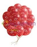 Облако из красных шаров с сердечками