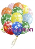 Облако из воздушных шаров с цветами
