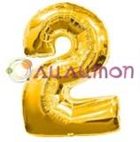 """Фольгированный шар """"Цифра 2"""" золотая"""