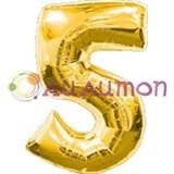 """Фольгированный шар """"Цифра 5"""" золотая"""