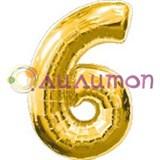 """Фольгированный шар """"Цифра 6"""" золотая"""
