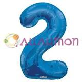 """Фольгированный шар """"цифра 2"""" голубая"""