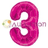"""Фольгированный шар """"цифра 3"""" розовая"""