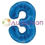 """Фольгированный шар """"цифра 3"""" голубая"""