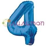 """Фольгированный шар """"цифра 4"""" голубая"""