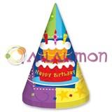 "Колпак ""Торт Birthday"" 6шт."