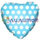"""""""Голубое сердце"""" в белый горошек 46 см"""